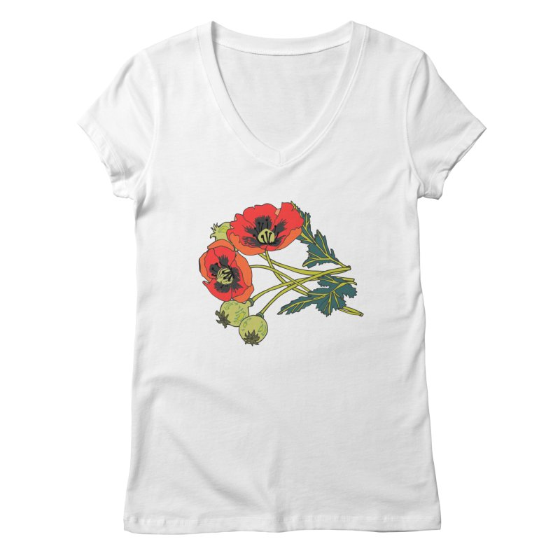 Red Poppies Women's Regular V-Neck by bad arithmetic