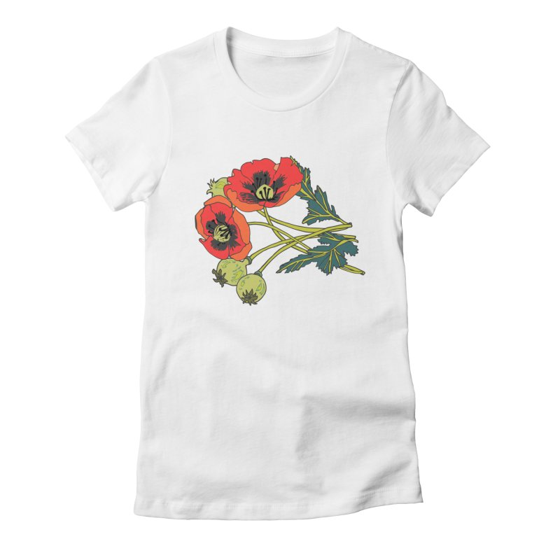Red Poppies Women's Fitted T-Shirt by bad arithmetic