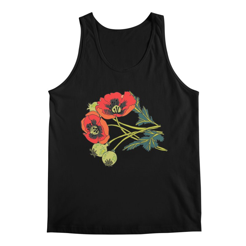 Red Poppies Men's Regular Tank by bad arithmetic