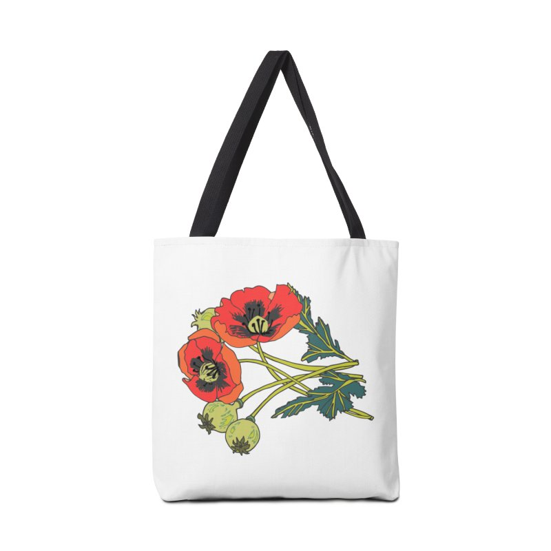 Red Poppies Accessories Tote Bag Bag by bad arithmetic