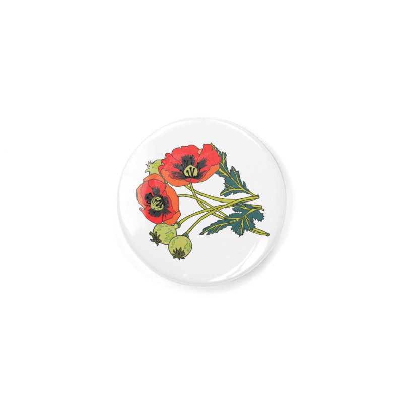 Red Poppies Accessories Button by bad arithmetic