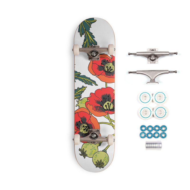 Red Poppies Accessories Complete - Basic Skateboard by bad arithmetic