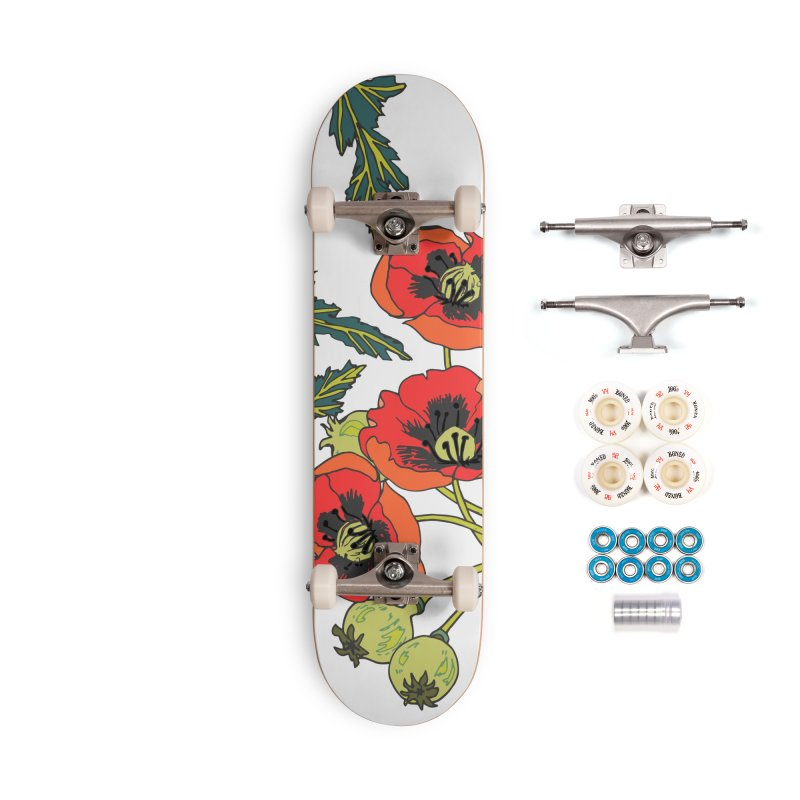 Red Poppies Accessories Complete - Premium Skateboard by bad arithmetic