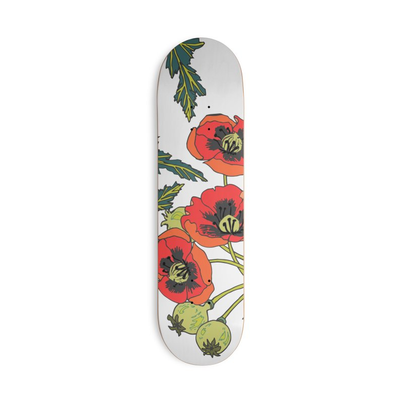 Red Poppies Accessories Deck Only Skateboard by bad arithmetic