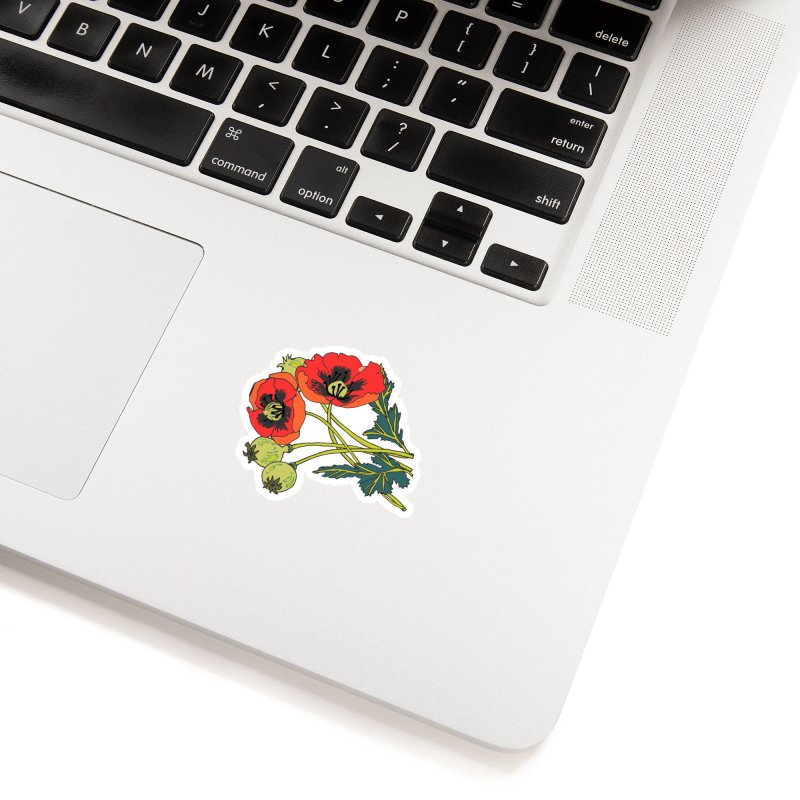 Red Poppies Accessories Sticker by bad arithmetic