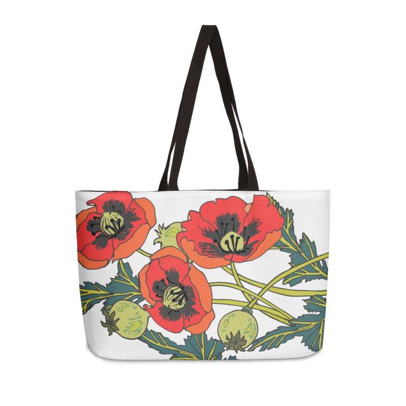 Red Poppies Accessories Weekender Bag Bag by bad arithmetic