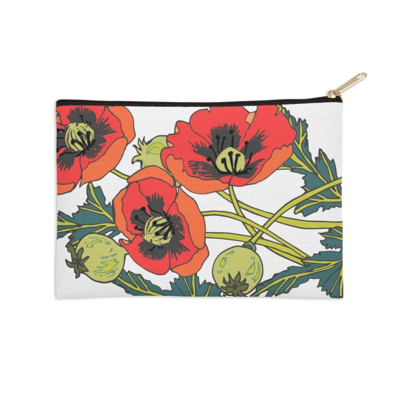 Red Poppies Accessories Zip Pouch by bad arithmetic
