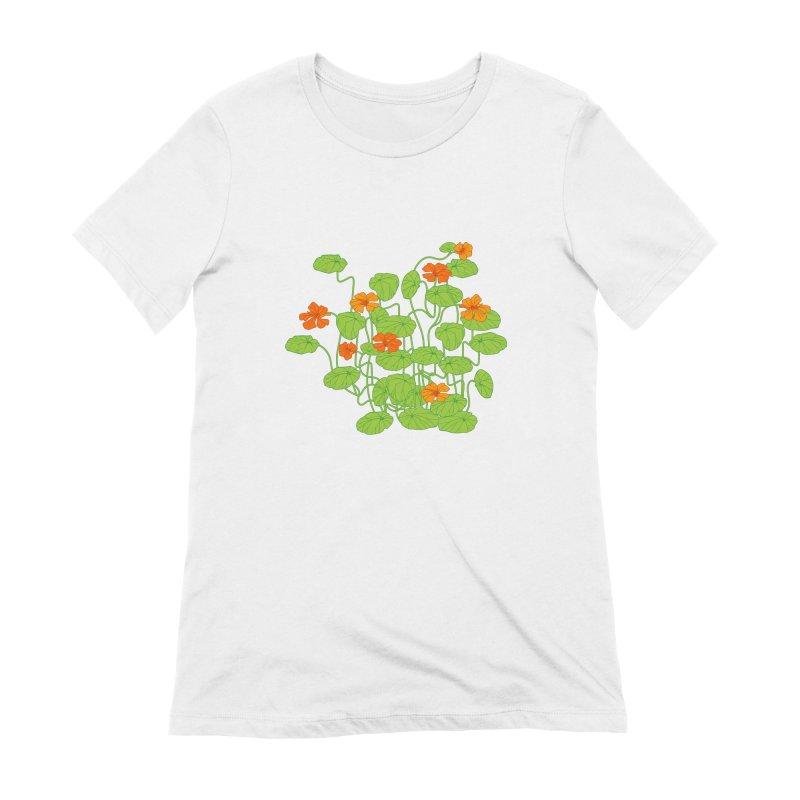 Nasturtiums Women's T-Shirt by bad arithmetic