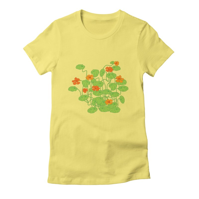 Nasturtiums Women's Fitted T-Shirt by bad arithmetic