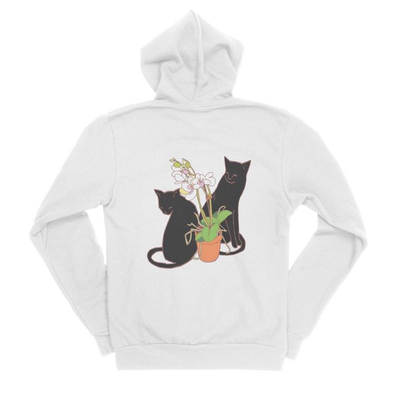Cats & Orchid Women's Sponge Fleece Zip-Up Hoody by bad arithmetic