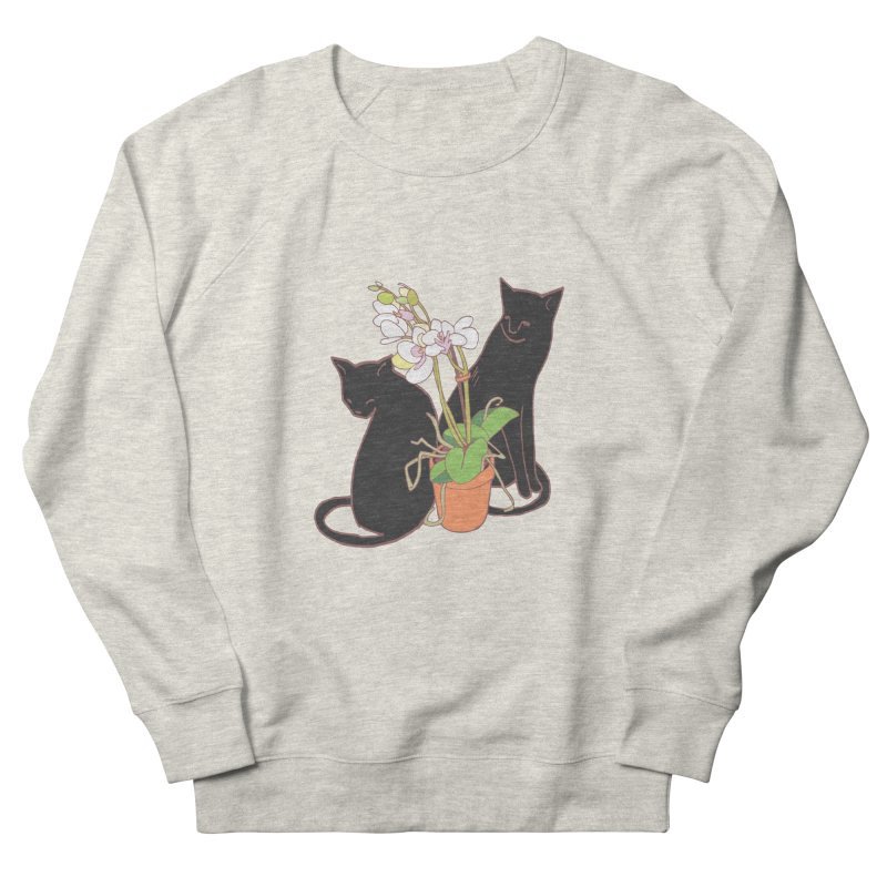 Cats & Orchid Women's French Terry Sweatshirt by bad arithmetic