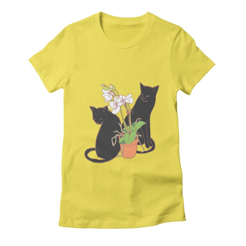 Cats & Orchid Women's T-Shirt by bad arithmetic