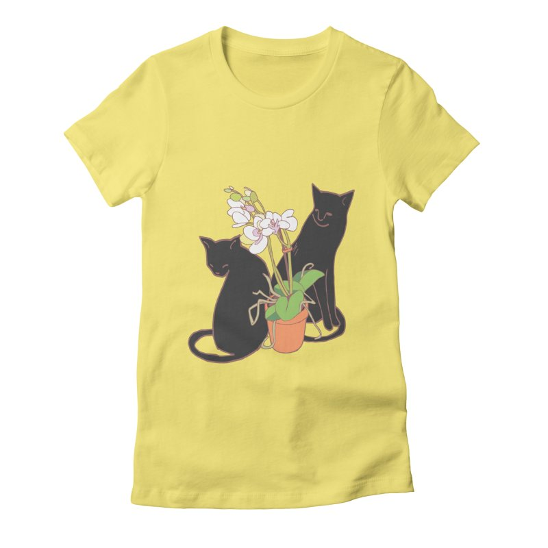 Cats & Orchid Women's Fitted T-Shirt by bad arithmetic