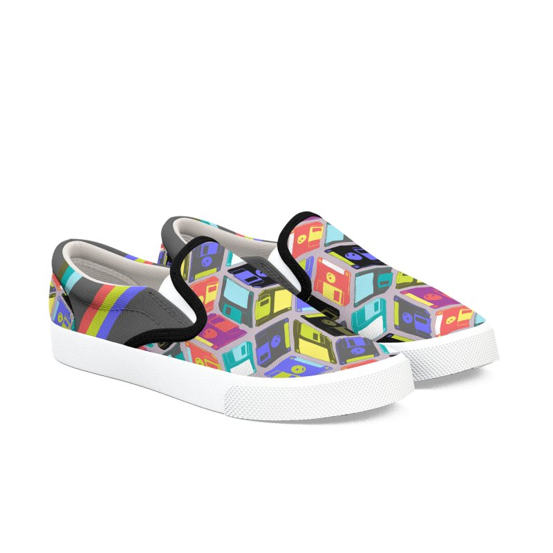 Floppy Disks Women's Slip-On Shoes by bad arithmetic