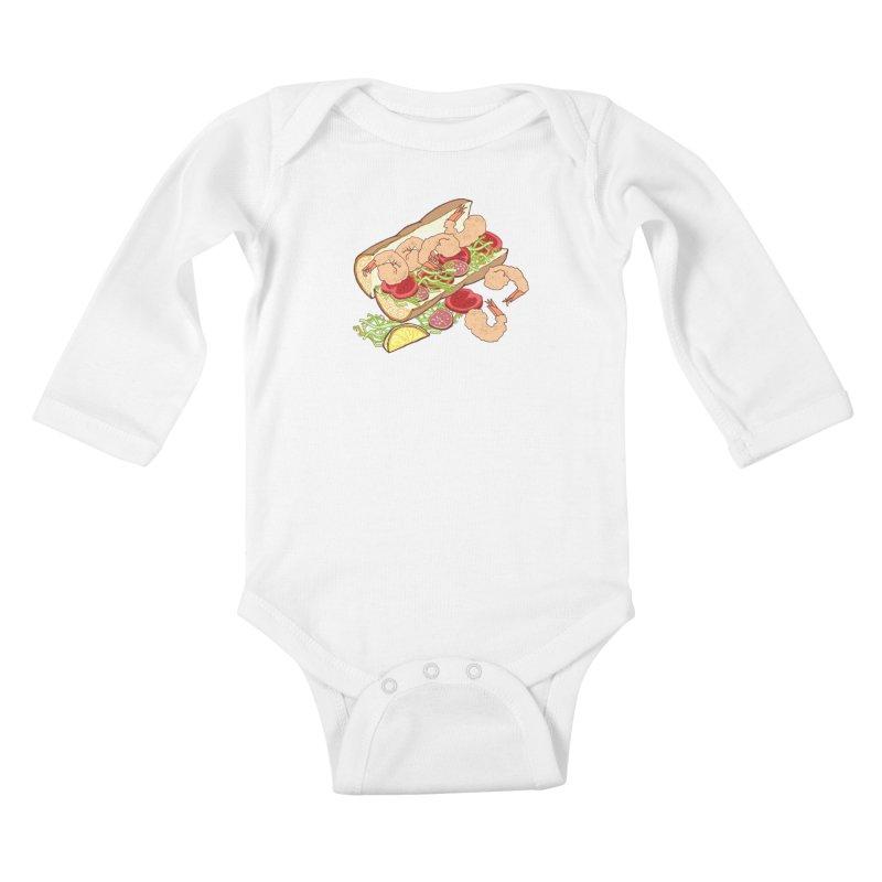 Shrimp Po-boy Kids Baby Longsleeve Bodysuit by bad arithmetic