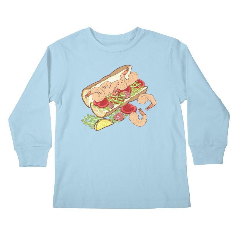 Shrimp Po-boy Kids Longsleeve T-Shirt by bad arithmetic