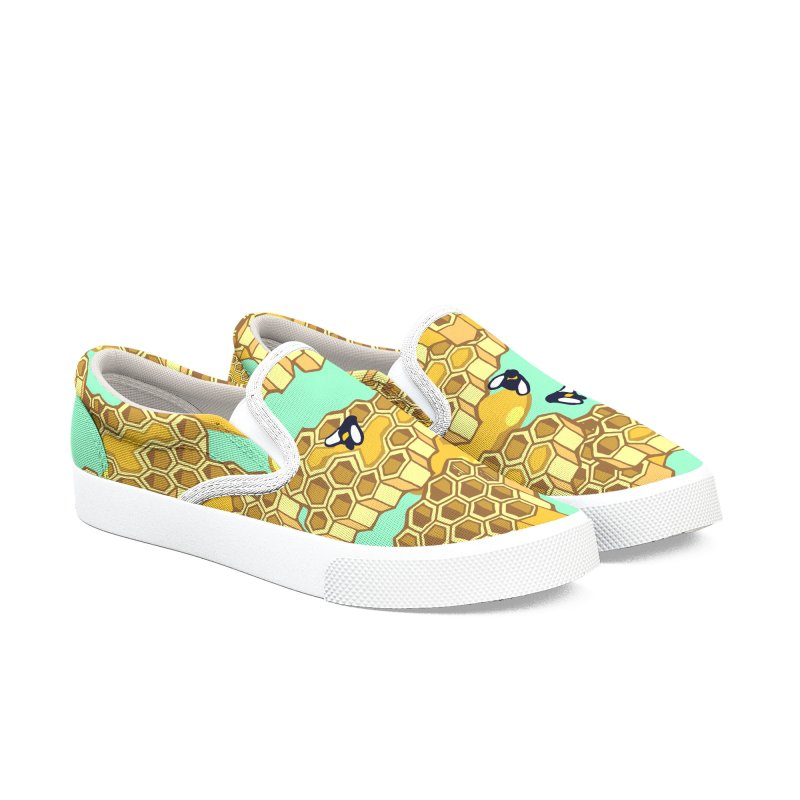 Bees and Honeycomb Women's Slip-On Shoes by bad arithmetic