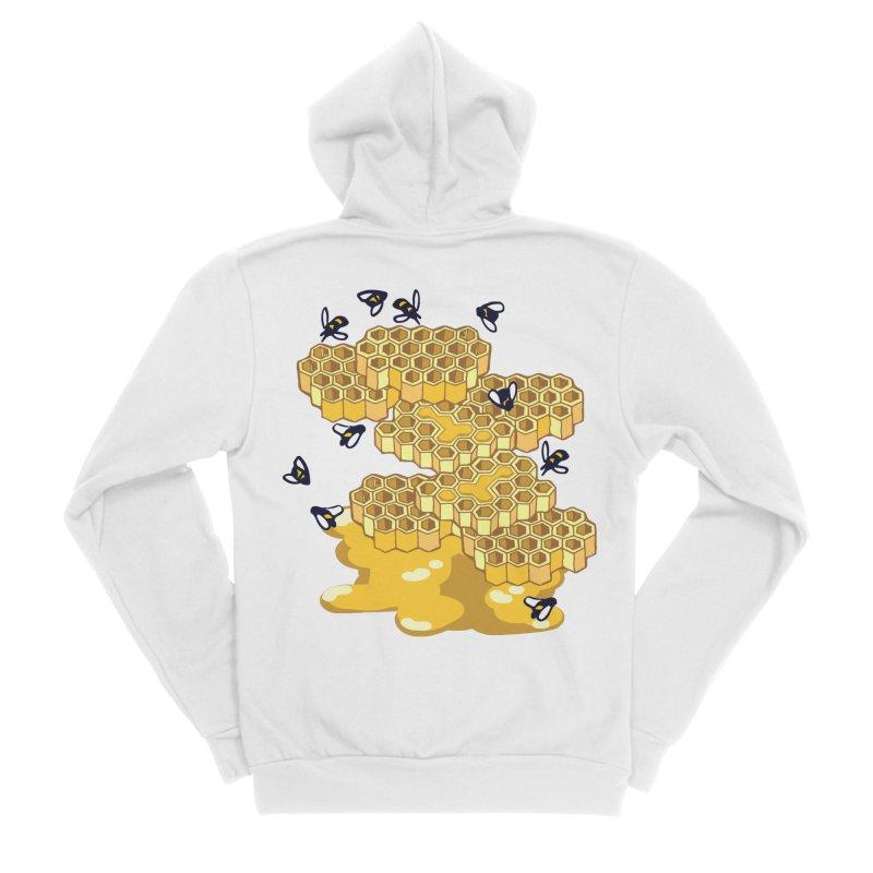Bees and Honeycomb Women's Sponge Fleece Zip-Up Hoody by bad arithmetic