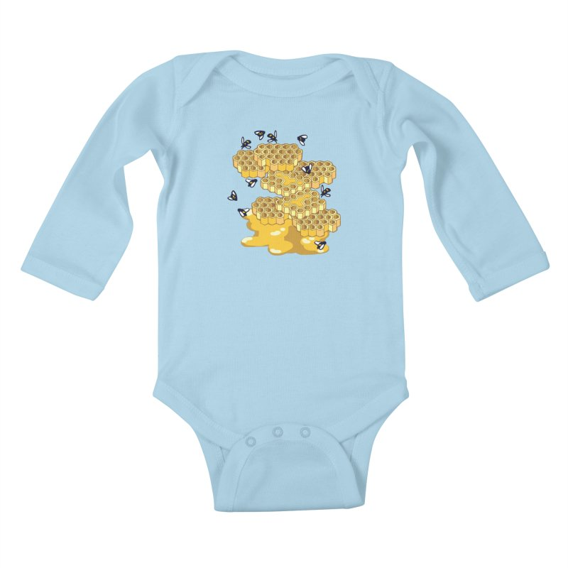 Bees and Honeycomb Kids Baby Longsleeve Bodysuit by napiform clip art