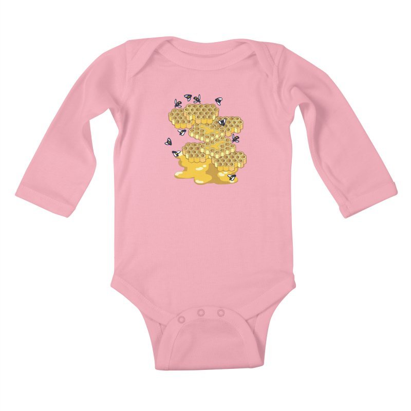 Bees and Honeycomb Kids Baby Longsleeve Bodysuit by bad arithmetic