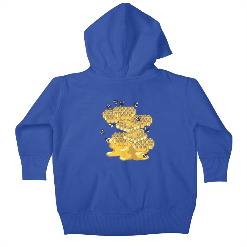 Bees and Honeycomb Kids Baby Zip-Up Hoody by bad arithmetic