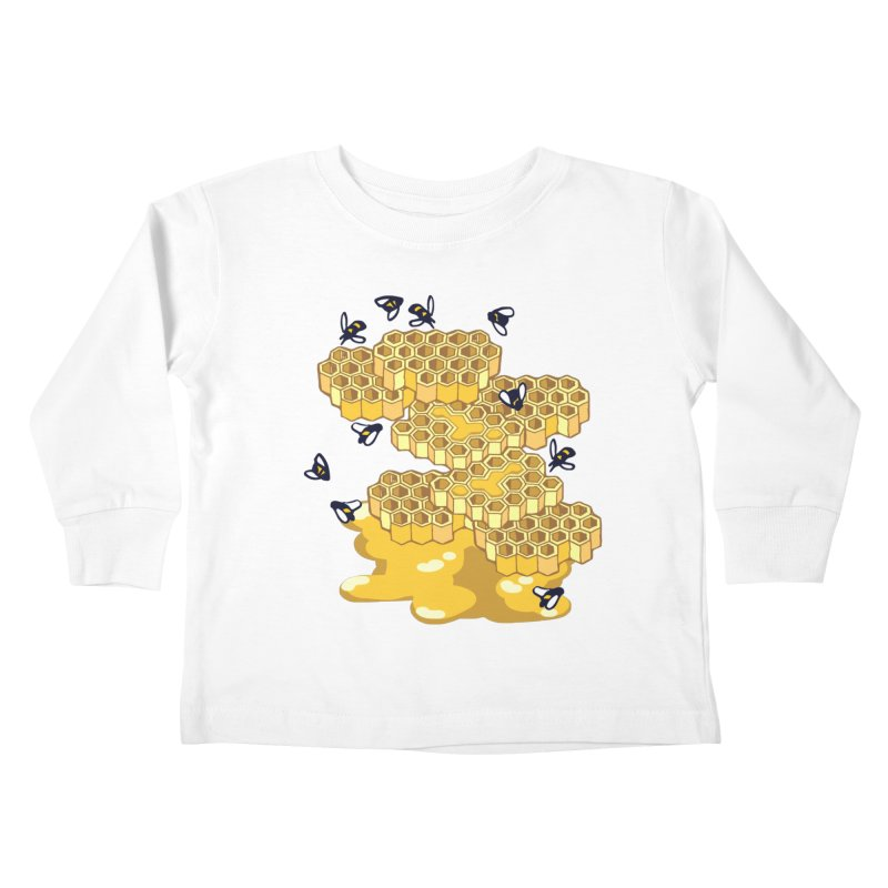 Bees and Honeycomb Kids Toddler Longsleeve T-Shirt by bad arithmetic