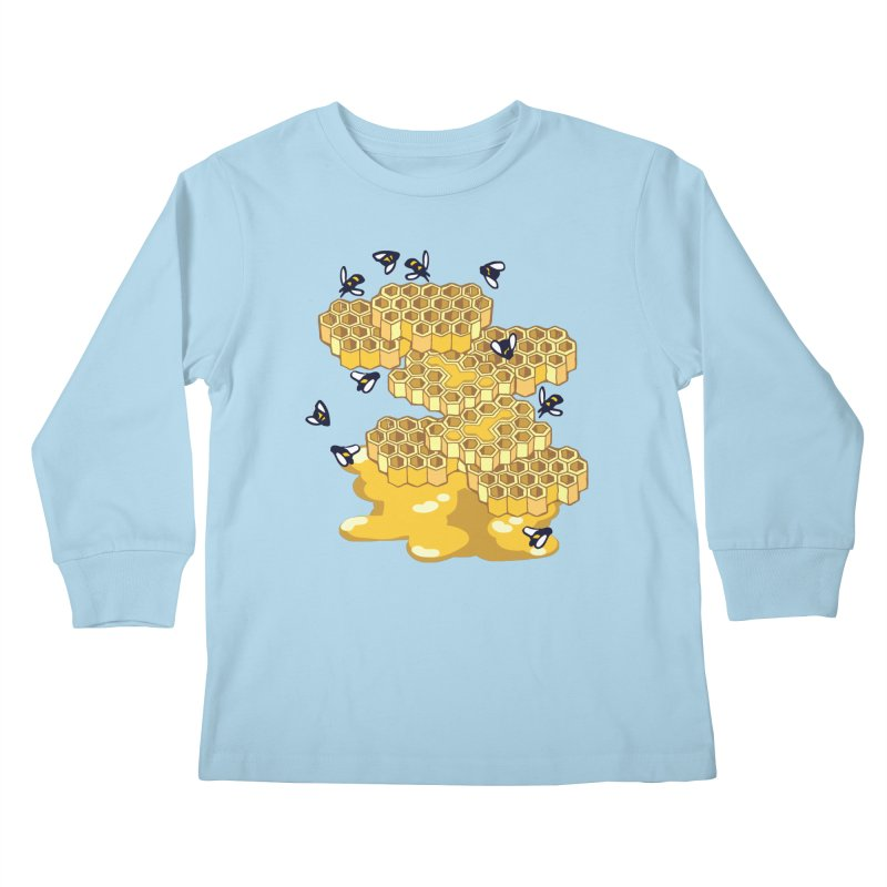Bees and Honeycomb Kids Longsleeve T-Shirt by bad arithmetic