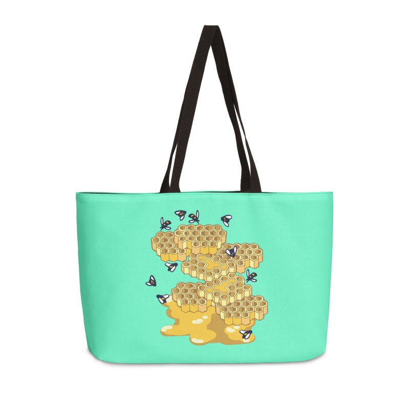 Bees and Honeycomb Accessories Weekender Bag Bag by bad arithmetic