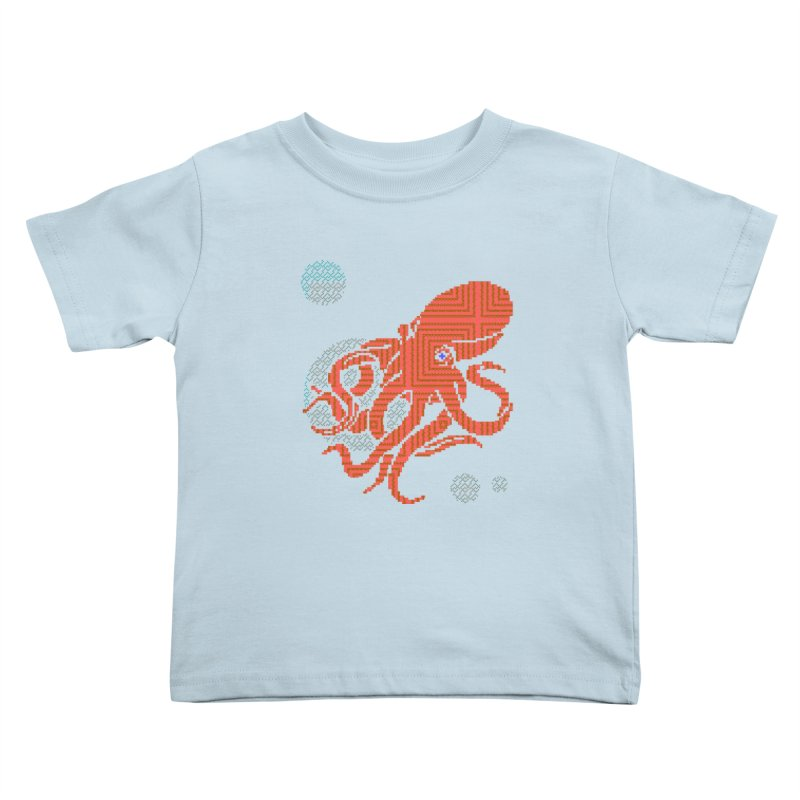 8 bit Octopus Kids Toddler T-Shirt by bad arithmetic