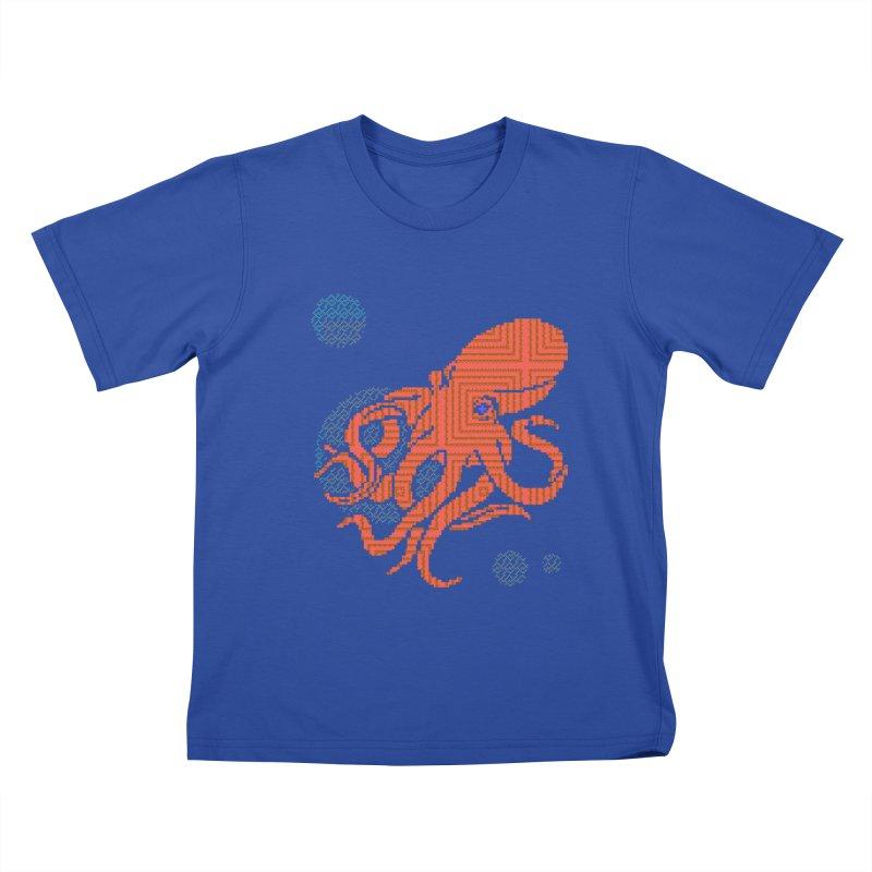8 bit Octopus Kids T-Shirt by napiform clip art