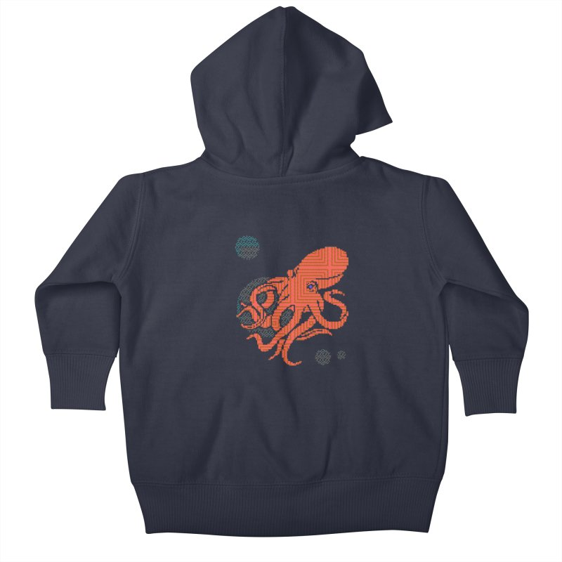 8 bit Octopus Kids Baby Zip-Up Hoody by napiform clip art