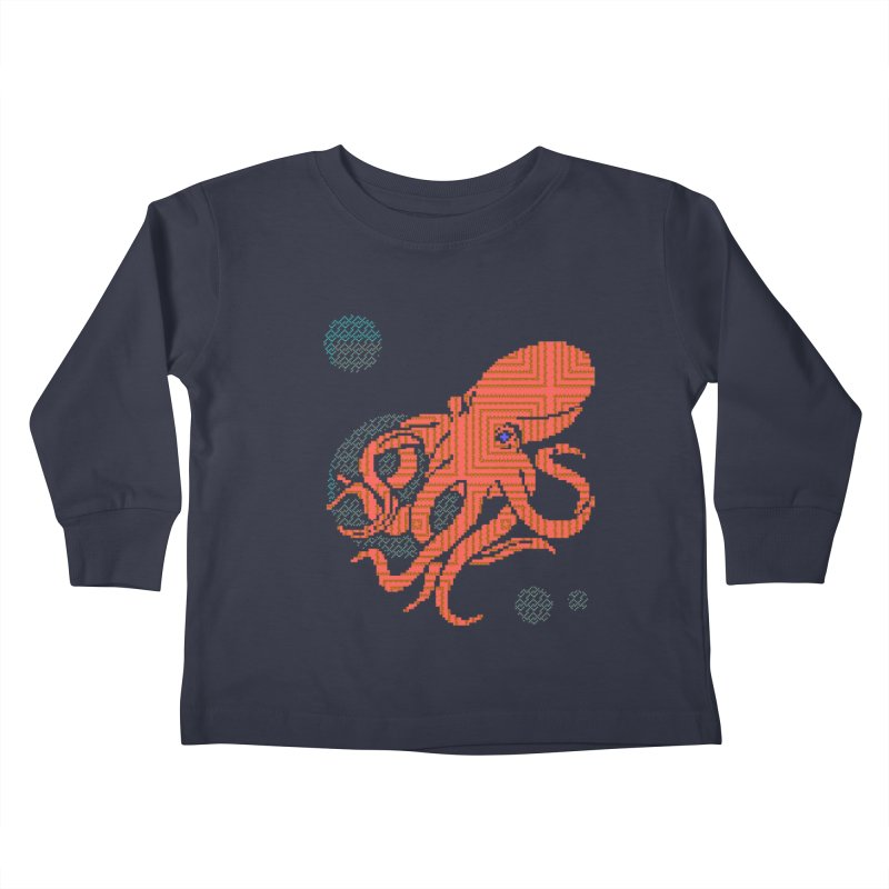 8 bit Octopus Kids Toddler Longsleeve T-Shirt by bad arithmetic