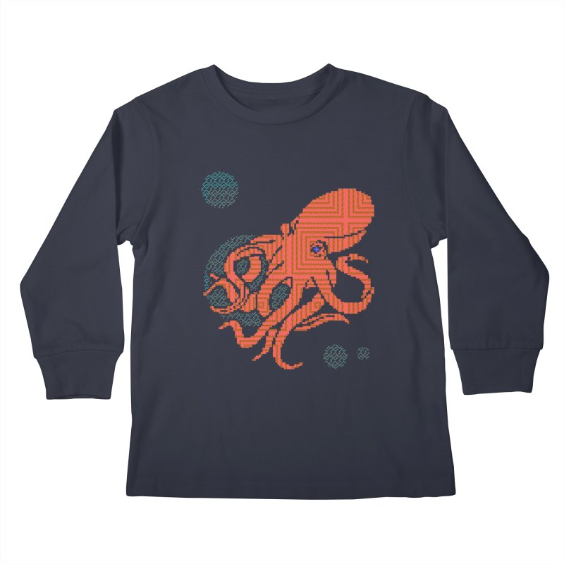 8 bit Octopus Kids Longsleeve T-Shirt by bad arithmetic