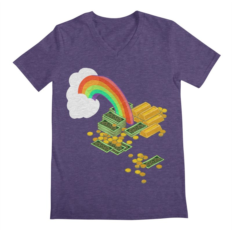 Gold at the End of the Rainbow Men's Regular V-Neck by napiform clip art