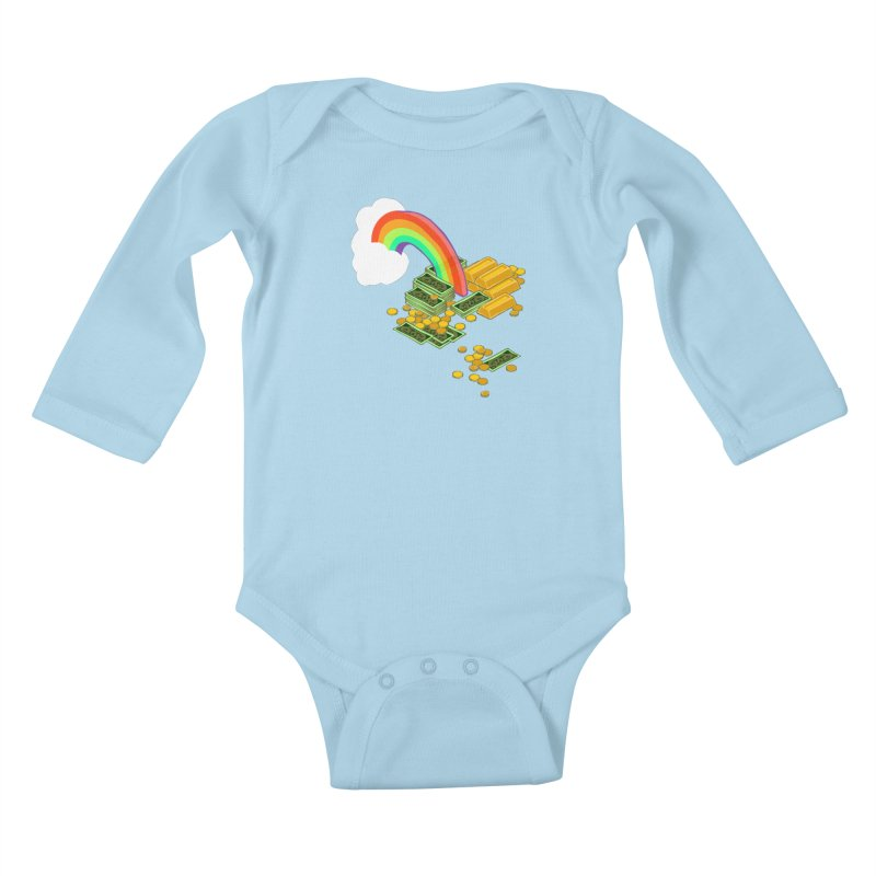 Gold at the End of the Rainbow Kids Baby Longsleeve Bodysuit by napiform clip art