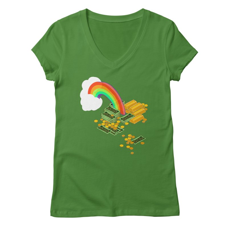 Gold at the End of the Rainbow Women's Regular V-Neck by napiform clip art