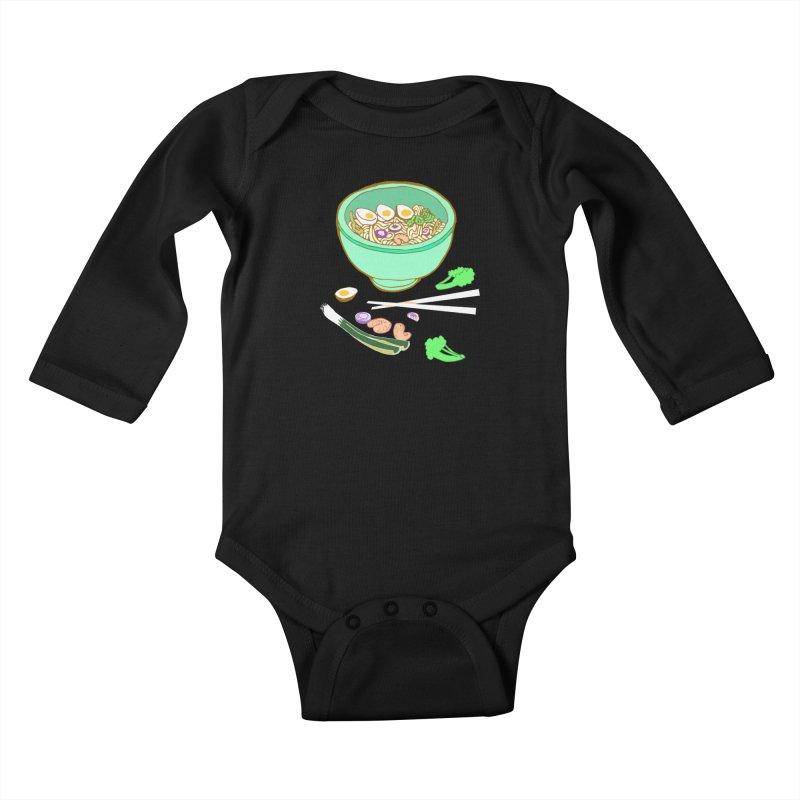 Bowl O' Noodle Kids Baby Longsleeve Bodysuit by bad arithmetic