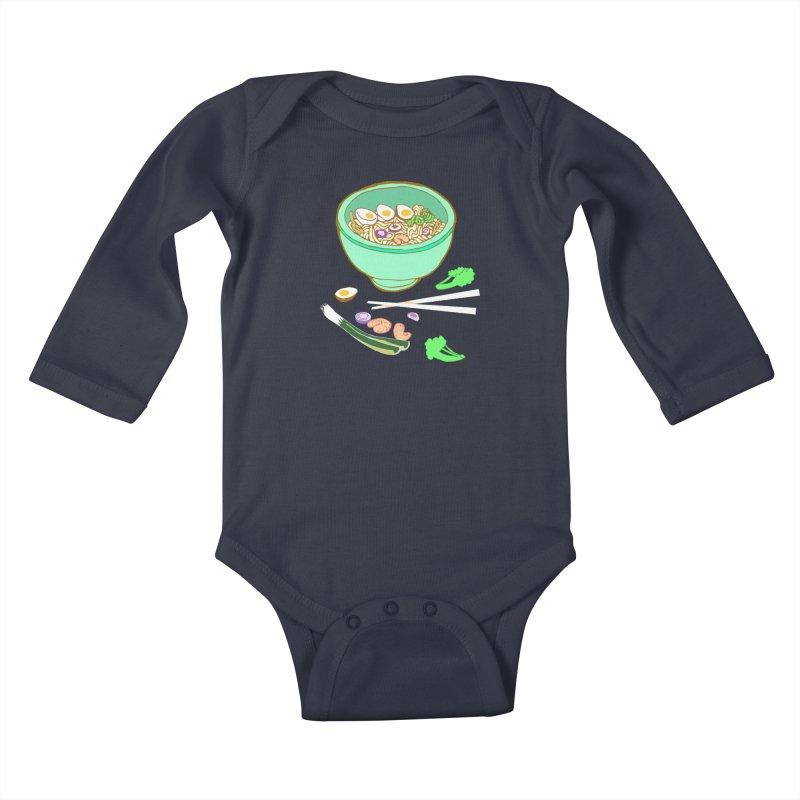 Bowl O' Noodle Kids Baby Longsleeve Bodysuit by napiform clip art