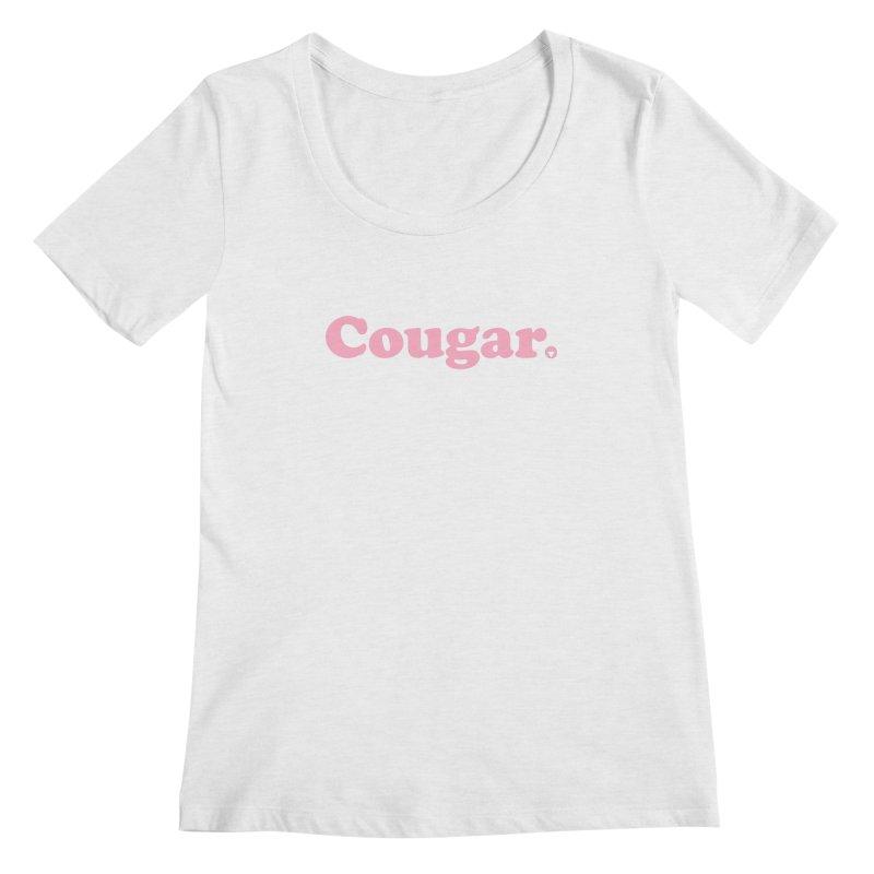 Cougar (Pink) Women's Regular Scoop Neck by Baddassery