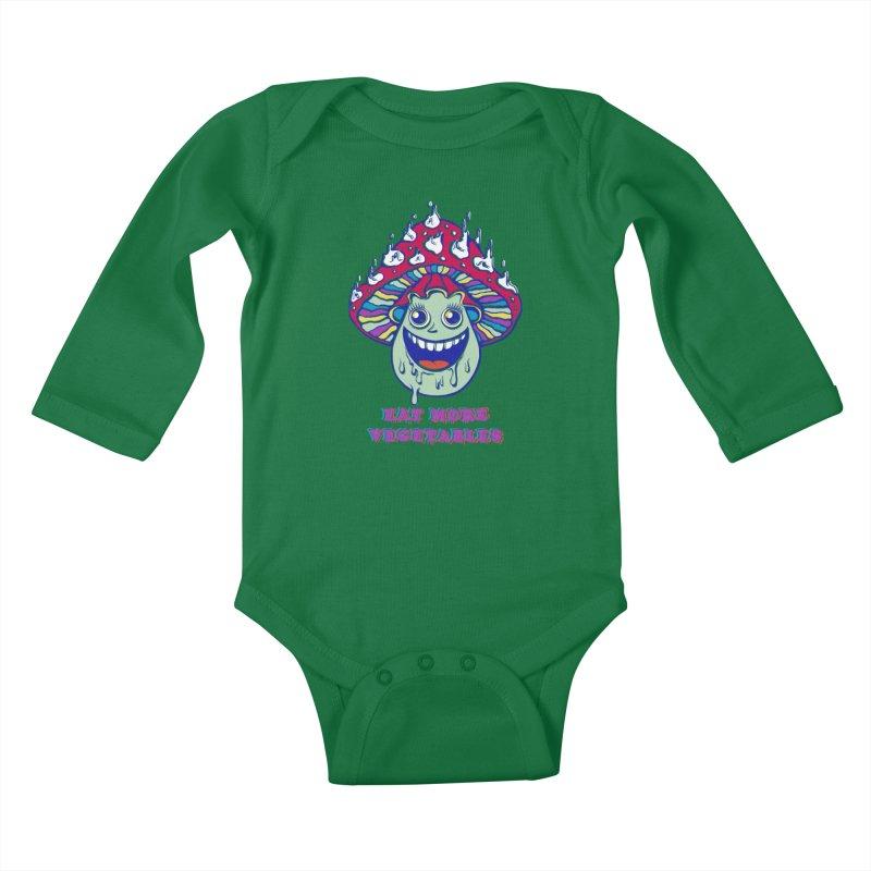 Eat more Vegetables! Kids Baby Longsleeve Bodysuit by badbasilisk's Artist Shop