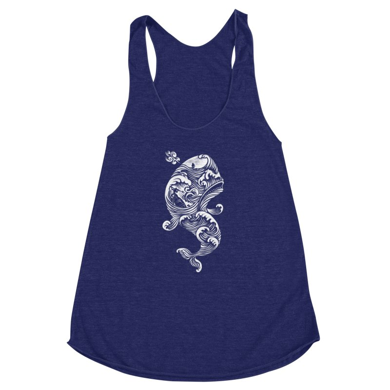 The White Whale Women's Racerback Triblend Tank by badbasilisk's Artist Shop