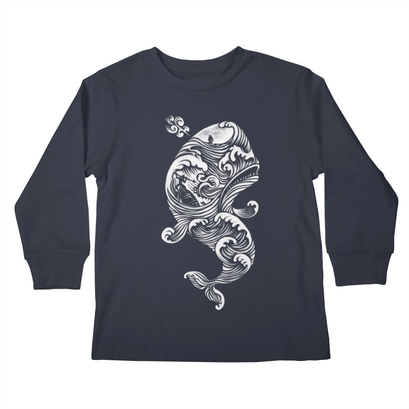 The White Whale Kids Longsleeve T-Shirt by badbasilisk's Artist Shop