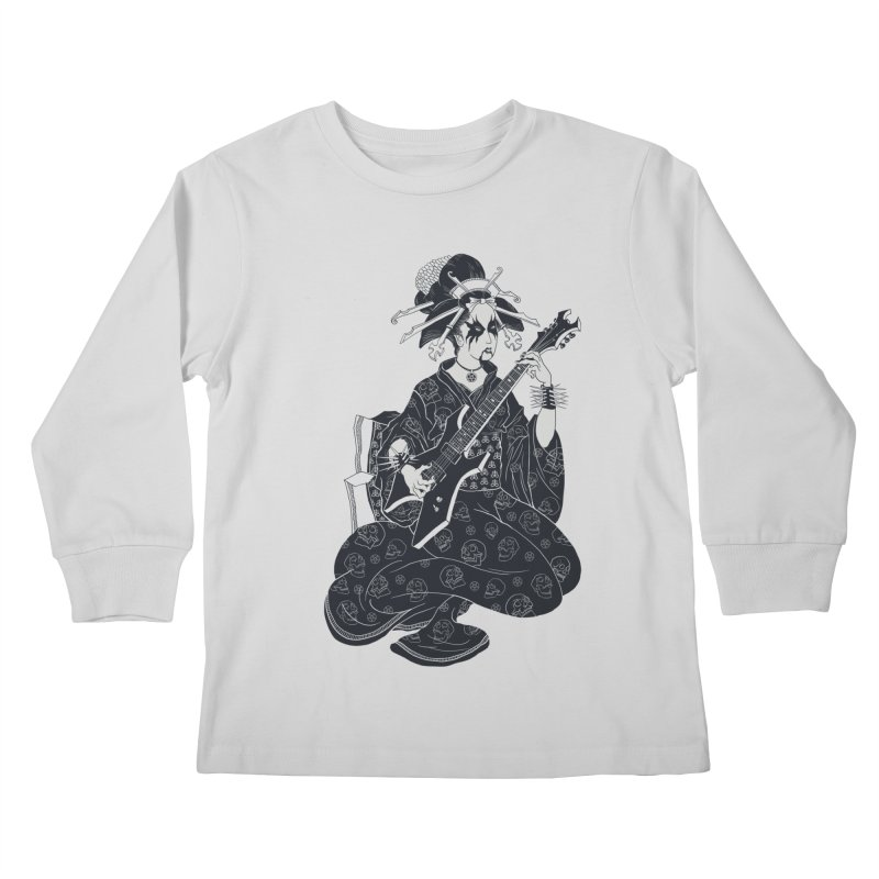 Black Metal Geisha Kids Longsleeve T-Shirt by badbasilisk's Artist Shop