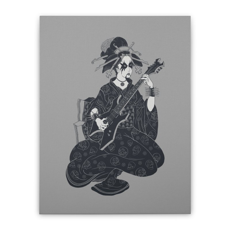 Black Metal Geisha Home Stretched Canvas by badbasilisk's Artist Shop