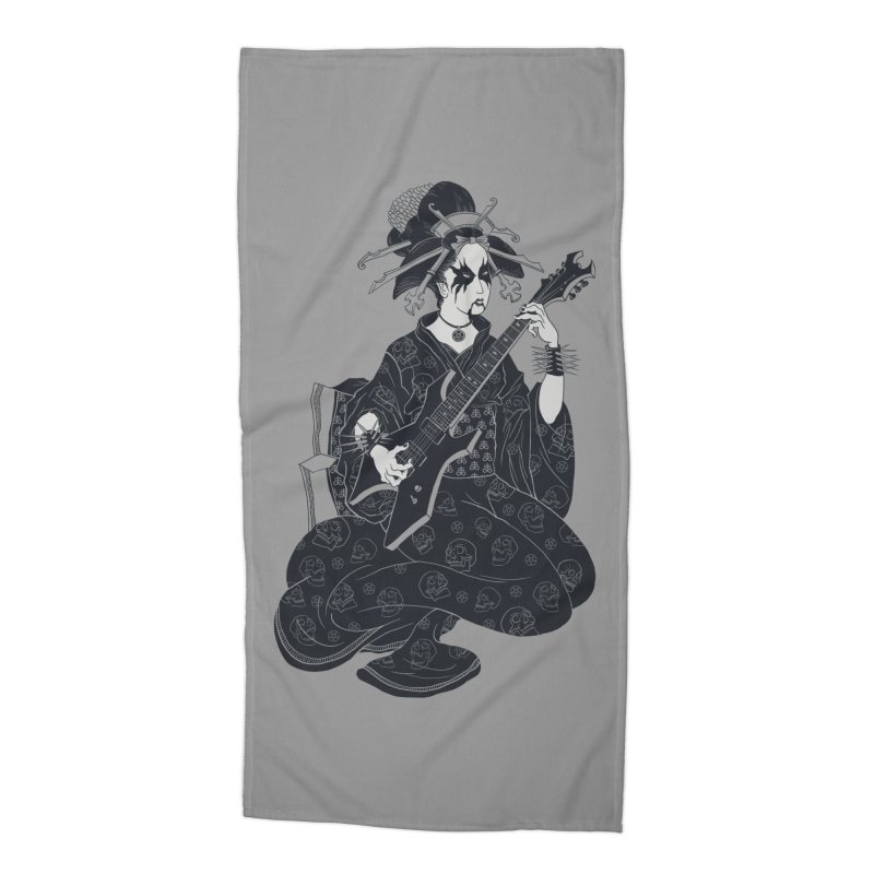 Black Metal Geisha Accessories Beach Towel by badbasilisk's Artist Shop