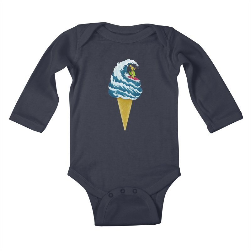 Perfect Wave Kids Baby Longsleeve Bodysuit by badbasilisk's Artist Shop