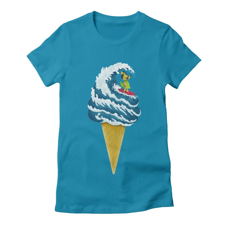 Perfect Wave Women's Fitted T-Shirt by badbasilisk's Artist Shop
