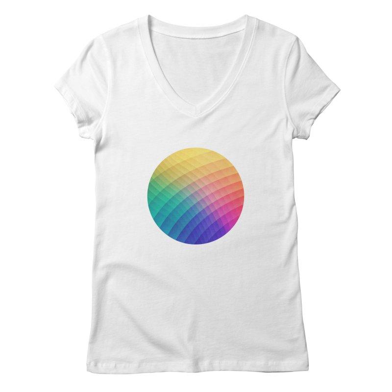 Spectrum Bomb! Fruity Fresh (HDR Rainbow Colorful Experimental Pattern) Women's V-Neck by Badbugs's Artist Shop