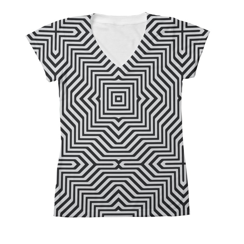 Minimal Geometrical Optical Illusion Style Pattern in Black & White T-Shirt Women's  by Badbugs's Artist Shop