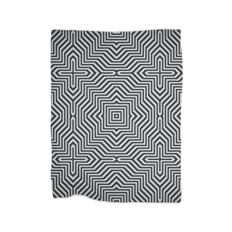 Minimal Geometrical Optical Illusion Style Pattern in Black & White T-Shirt Home Blanket by Badbugs's Artist Shop